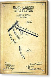 Hand Garden Cultivator Patent From 1889 - Vintage Acrylic Print