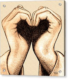Acrylic Print featuring the digital art Hand Heart by Jaison Cianelli