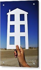Hand Holding House Shape Outdoors Acrylic Print by Sami Sarkis