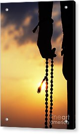 Hand Holding Rudraksha Beads Acrylic Print by Tim Gainey