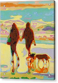 Hand In Hand On Beach With Two Dogs Oil Painting Bertram Poole Acrylic Print by Thomas Bertram POOLE
