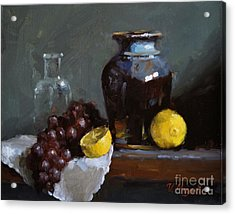 Hand-made Pottery With Fruits Acrylic Print