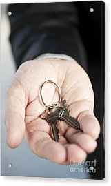 Hand Offering New Keys Acrylic Print by Elena Elisseeva