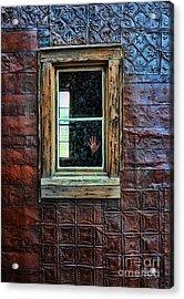 Hand On Old Window Acrylic Print by Jill Battaglia