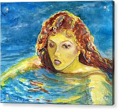 Hand Painted Art Adult Female Swimmer Acrylic Print by Lenora  De Lude