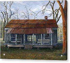 Hand Painted Art Dogtrot House In Pleasant Hill Louisiana Acrylic Print by Lenora  De Lude