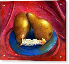 Hand Painted Art Fruit Still Life Pears Acrylic Print by Lenora  De Lude