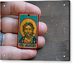 Hand Painted Miniature Icon Of Saint Andrew The Apostle Acrylic Print by Denise ClemencoIcons