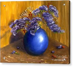 Hand Painted Still Life Blue Vase Purple Flowers Acrylic Print by Lenora  De Lude
