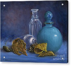 Hand Painted Still Life Bottles Leaves Acrylic Print
