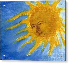 Hand Painted Sun Face Old Sol Acrylic Print
