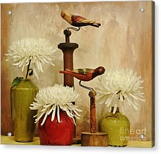 Hand Painted Wooden Birds With Mums Acrylic Print by Marsha Heiken