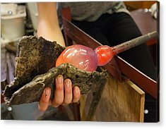 Acrylic Print featuring the photograph Hand Shaping Molten Glass by Paul Indigo