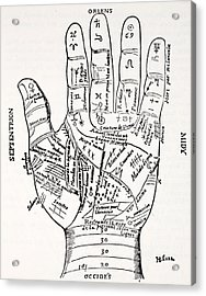 Hand With Symbols, Septentrion, Oriens Acrylic Print by French School