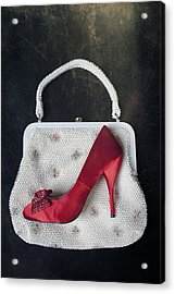 Handbag With Stiletto Acrylic Print by Joana Kruse