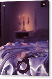 Handcuffs And Rose Petals On Bed Acrylic Print