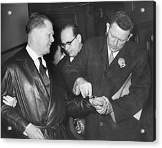 Handcuffs For Jimmy Hoffa Acrylic Print by Underwood Archives