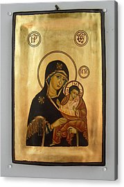 Handpainted Orthodox Holy Icon Madonna With Child Jesus Acrylic Print by Denise Clemenco