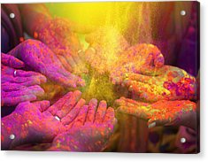 Hands And Colorful Powders Of The Holi Festival Acrylic Print by Mammuth