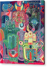 Hands As Amulets II, 1992 Acrylic On Canvas Acrylic Print by Laila Shawa