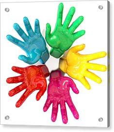 Hands Colorful Circle Reaching Skyward Acrylic Print by Allan Swart