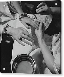 Hands Of The Comtesse Chandon De Briailles Acrylic Print by Roger Schall