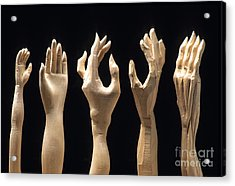 Hands Of Wood Puppets Acrylic Print