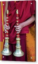 Hands Of Young Monk Holding Ceremonial Acrylic Print by Ellen Clark