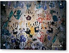 Hands On Wall Acrylic Print by Eva Kato