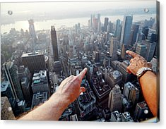 Hands Pointing At City As Seen From Acrylic Print by Chris Tobin
