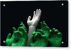 Hands Reaching Skyward Acrylic Print by Allan Swart