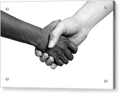 Handshake Black And White Acrylic Print