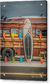 Hang Ten - Vintage Woodie Surf Bus - Florida - Hdr Style Acrylic Print by Ian Monk