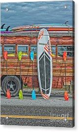 Hang Ten - Vintage Woodie Surf Bus - Florida Acrylic Print by Ian Monk