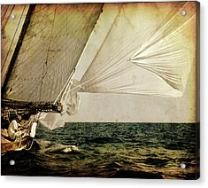 Acrylic Print featuring the photograph Hanged On Wind In A Mediterranean Vintage Tall Ship Race  by Pedro Cardona