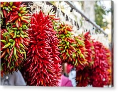 Hanging Chili Pepper Ristras At Farmers Market Acrylic Print by Teri Virbickis