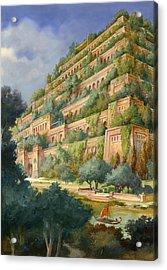 Hanging Gardens Of Babylon Acrylic Print by English School