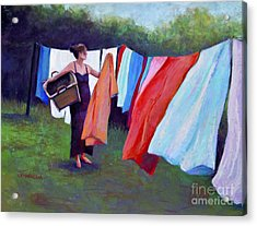 Hanging Laundry Acrylic Print by Joyce A Guariglia