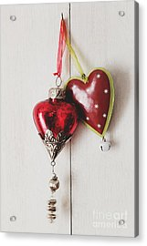 Acrylic Print featuring the photograph Hanging Ornaments On White Background by Sandra Cunningham