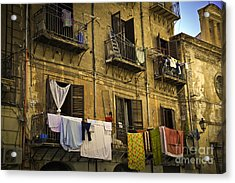 Hanging Out To Dry In Palermo  Acrylic Print by Madeline Ellis