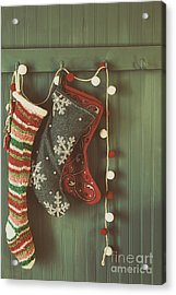 Acrylic Print featuring the photograph Hanging Stockings Ready For Christmas by Sandra Cunningham