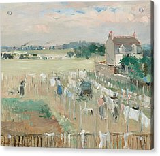 Hanging The Laundry Out To Dry Acrylic Print by Berthe Morisot