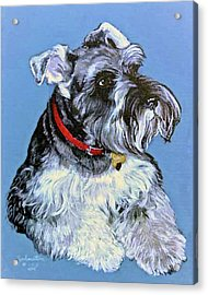 Acrylic Print featuring the painting Hans The Schnauzer Original Painting Forsale by Bob and Nadine Johnston