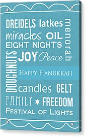 Hanukkah Words -greeting Card Acrylic Print by Linda Woods