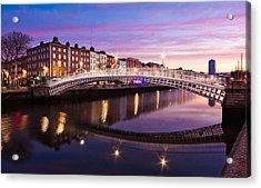Acrylic Print featuring the photograph Hapenny Bridge At Dawn - Dublin by Barry O Carroll