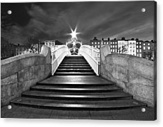 Acrylic Print featuring the photograph Ha'penny Bridge Steps At Night - Dublin - Black And White by Barry O Carroll