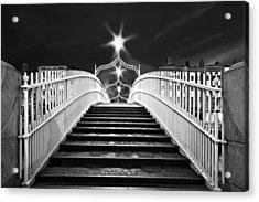 Acrylic Print featuring the photograph Ha'penny Bridge Steps - Dublin - Black And White by Barry O Carroll