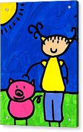 Happi Arte 1 - Girl With Pink Pig Art Acrylic Print by Sharon Cummings