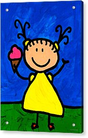 Happi Arte 3 - Little Girl Ice Cream Cone Art Acrylic Print by Sharon Cummings