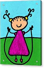 Happi Arte 7 - Girl On Jump Rope Art Acrylic Print by Sharon Cummings